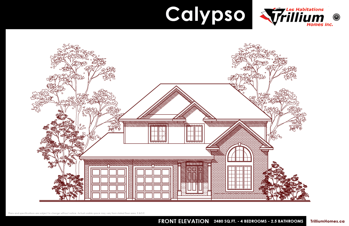 2 storey homes les habitations trillium homes inc 2480 sq ft 4 bedroom 2 5 bedroom two storey executive home featuring formal living and dining room large family room open to kitchen and dinette