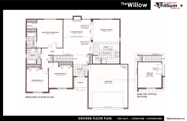 Bungalows les habitations trillium homes inc for Habitations home plans